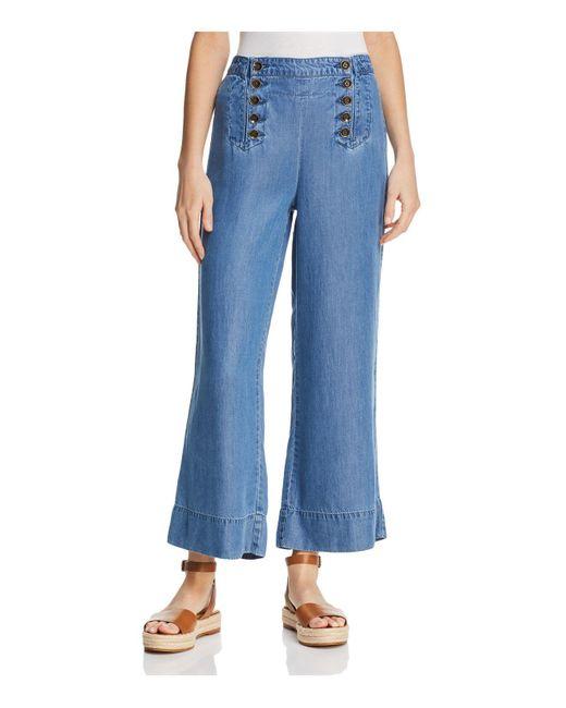 Ella Moss - Blue Cropped Wide-leg Pants - Lyst
