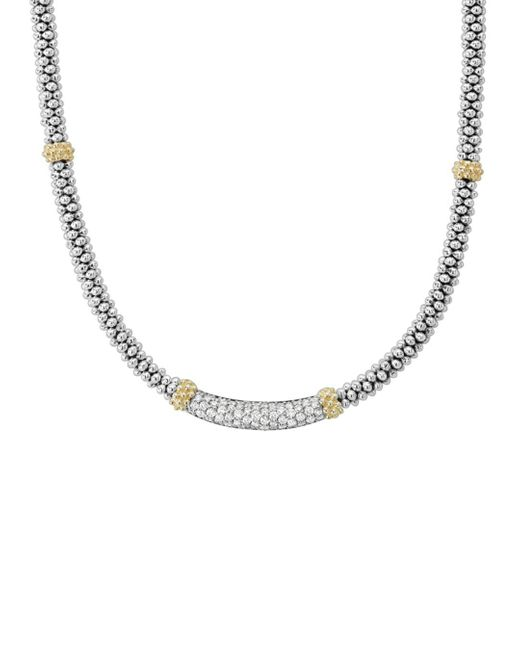 Lagos - Metallic 18k Gold & Sterling Silver Diamond Lux Collar Necklace - Lyst