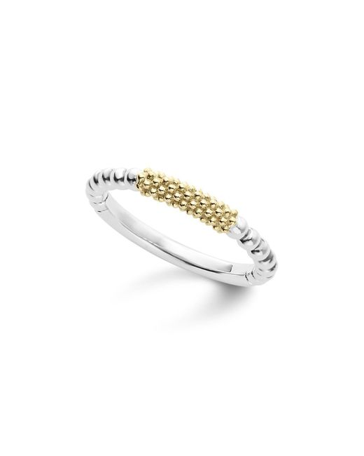 Lagos | Metallic Caviar Icon 18k Gold And Sterling Silver Bead Bar Stacking Ring | Lyst