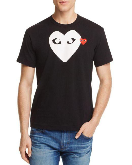 Play Comme des Garçons - Black Comme Des Garçons Play Double Heart Logo Graphic Tee for Men - Lyst