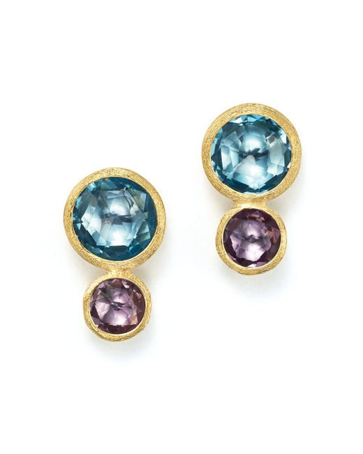 Marco Bicego - Metallic 18k Yellow Gold Jaipur Two Stone Earrings With Blue Topaz And Amethyst - Lyst