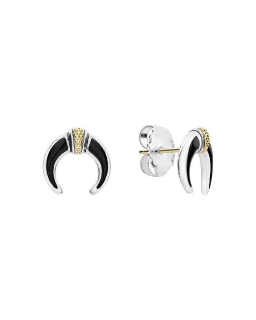 Lagos - Metallic 18k Gold & Sterling Silver Eclipse Onyx Earrings - Lyst