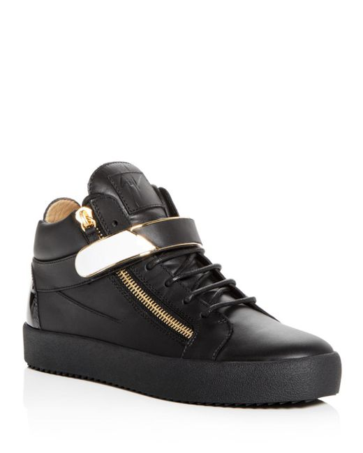Giuseppe Zanotti - Black Men's Leather Mid Top Sneakers for Men - Lyst
