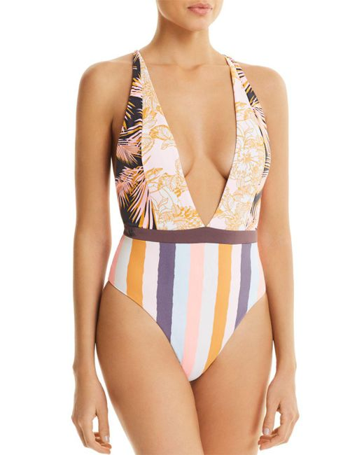 Maaji - Multicolor Rainbow Jungle Reversible Plunge One Piece Swimsuit - Lyst