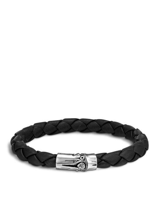 John Hardy - Metallic Men's Bamboo Silver Black Woven Leather Bracelet for Men - Lyst