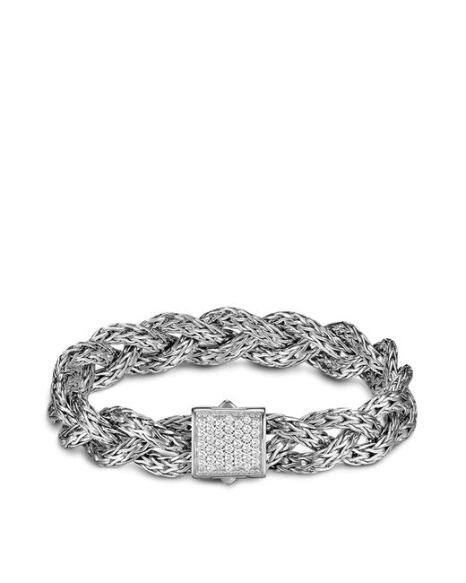 John Hardy | White Classic Chain Silver Small Braided Chain Bracelet With Diamond Pave, .42 Ct. T.w. | Lyst