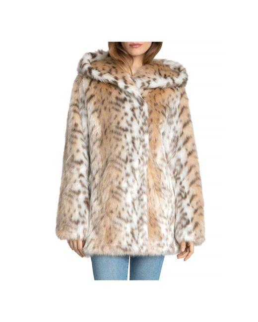 Avec Les Filles - Multicolor Hooded Faux Fur Coat - Lyst