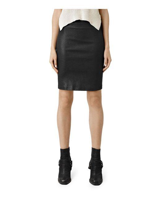 AllSaints   Black Coated Denim Pencil Skirt   Lyst