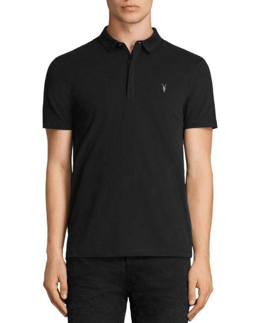 AllSaints - Black Brace Regular Fit Polo for Men - Lyst