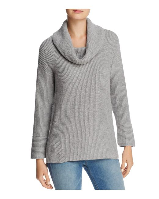 Calvin Klein | Gray Cowl Neck Chunky-knit Sweater | Lyst