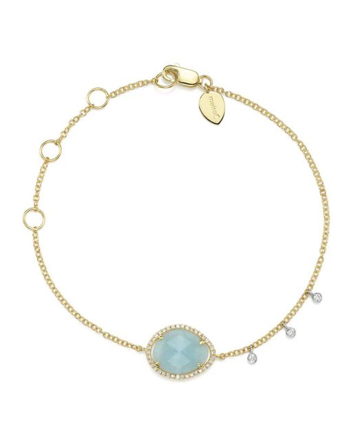 Meira T - Metallic 14k White & Yellow Gold Milky Aquamarine & Diamond Bracelet - Lyst