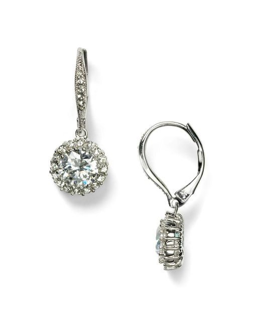 Nadri | Metallic Framed Round Cubic Zirconia Drop Earrings | Lyst