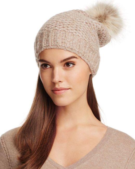 Inverni - Natural Fur Pom-pom Slouchy Beanie - Lyst