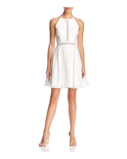 Betsy & Adam - White Illusion-inset Lace Dress - Lyst