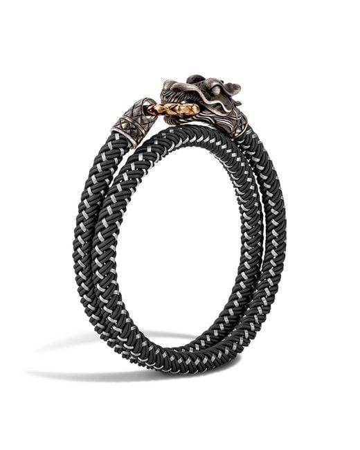 John Hardy   Black Men's Naga Double Wrap Dragon Cord Bracelet for Men   Lyst