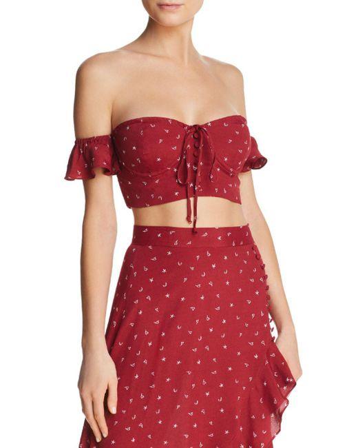 For Love & Lemons - Red La Lana Off-the-shoulder Crop Top - Lyst