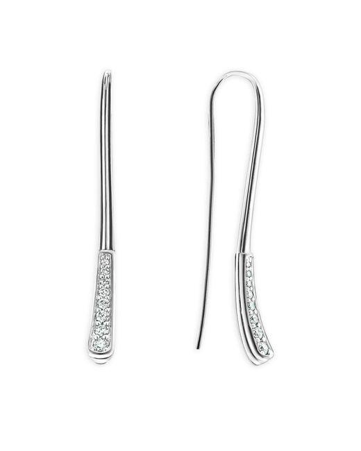 Lagos   Metallic Sterling Silver Signature Caviar Diamond Linear Drop Earrings   Lyst