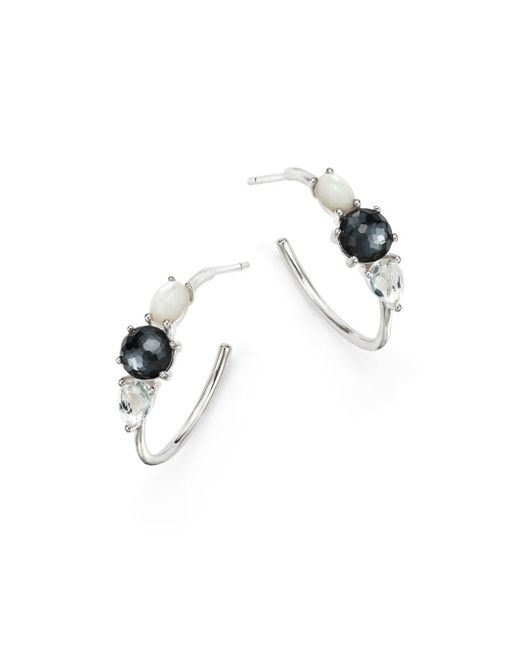 Ippolita - Multicolor Hematite Doublet And Clear Quartz Hoop Earrings - Lyst