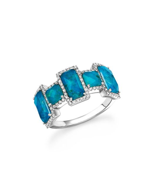 Meira T - Multicolor 14k White Gold Chrysocolla Doublet And Diamond Ring - Lyst