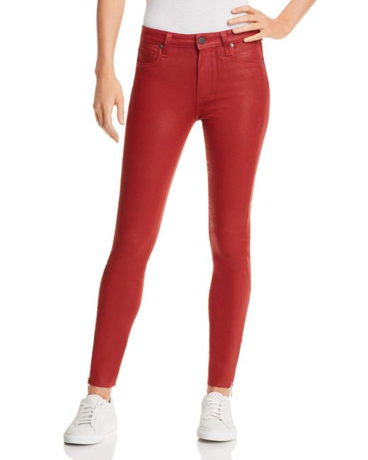 PAIGE - Red Coated Hoxton Ankle Peg Skinny Jeans In Heartthrob Luxe - Lyst