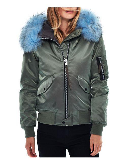 Sam. | Green Jenny Fur Trim Bomber Jacket | Lyst