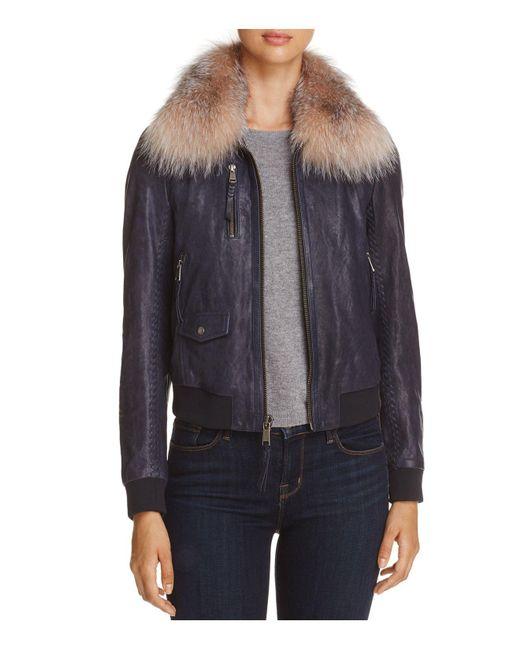 Andrew Marc | Blue Naples Fur Trim Leather Bomber Jacket | Lyst