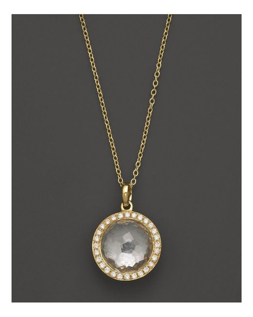 Ippolita | Metallic 18k Gold Mini Lollipop Pendant Necklace In Clear Quartz With Diamonds | Lyst