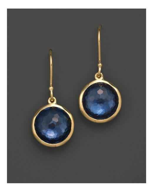 Ippolita   Metallic 18k Gold Mini Lollipop Earrings In London Blue Topaz   Lyst
