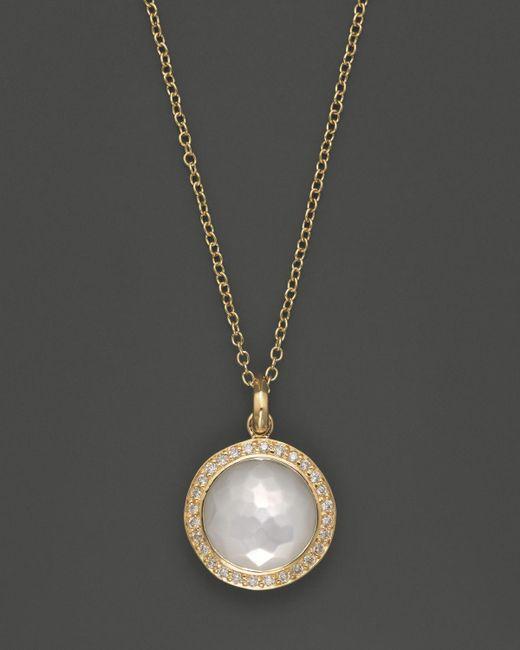 Ippolita   Metallic 18k Yellow Gold Mini Lollipop Pendant Necklace In Mother-of-pearl With Diamonds   Lyst