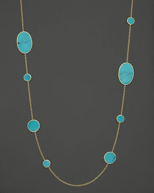 Ippolita   Metallic 18k Yellow Gold Polished Rock Candy Circle Oval Station Necklace In Turquoise   Lyst
