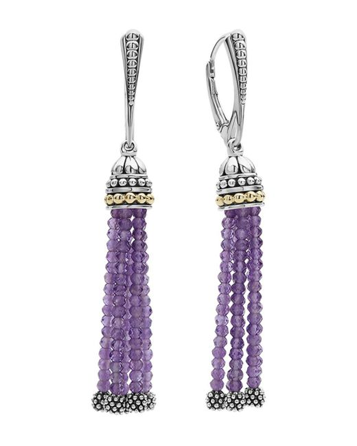Lagos - Metallic 18k Gold And Sterling Silver Caviar Icon Tassel Earrings With Amethyst - Lyst