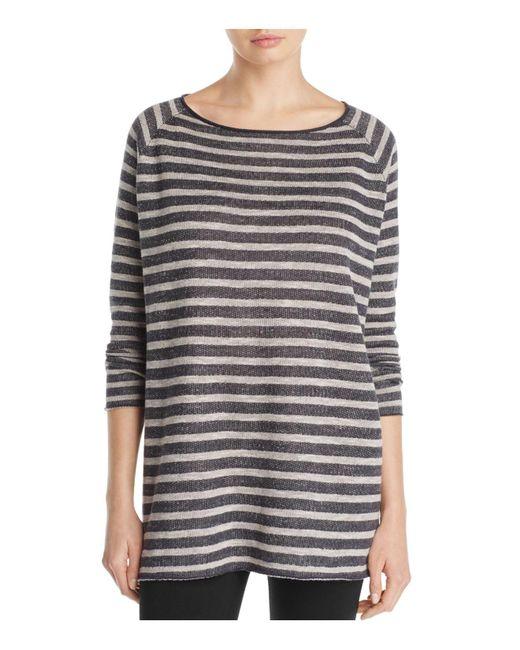Eileen Fisher | Gray Bateau Neck Stripe Tunic Top | Lyst