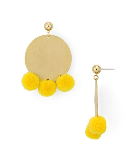 Aqua - Yellow Large Disc Pom-pom Drop Earrings - Lyst