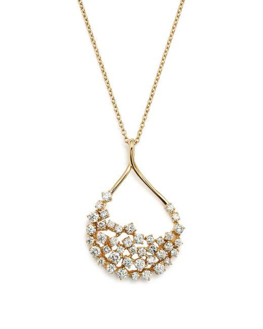 Bloomingdale's - Metallic Diamond Teardrop Shape Pendant Necklace In 14k Yellow Gold, 2.45 Ct. T.w. - Lyst