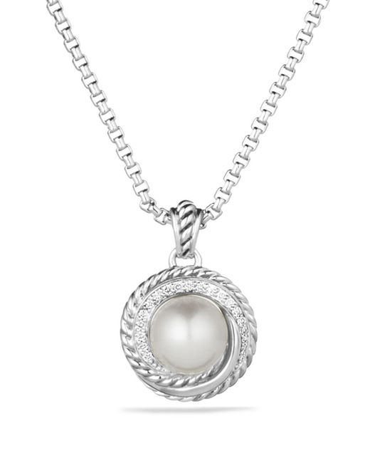 David Yurman - Metallic Pearl Crossover Pendant With Diamonds On Chain - Lyst