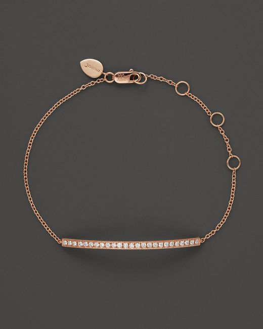 Meira T | Pink 14k Rose Gold Bar Bracelet With Diamonds, .30 Ct. T.w. | Lyst
