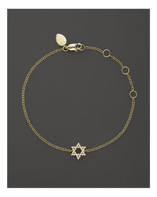 Meira T | 14k Yellow Gold Star Of David Bracelet With Diamonds, .13 Ct. T.w. | Lyst