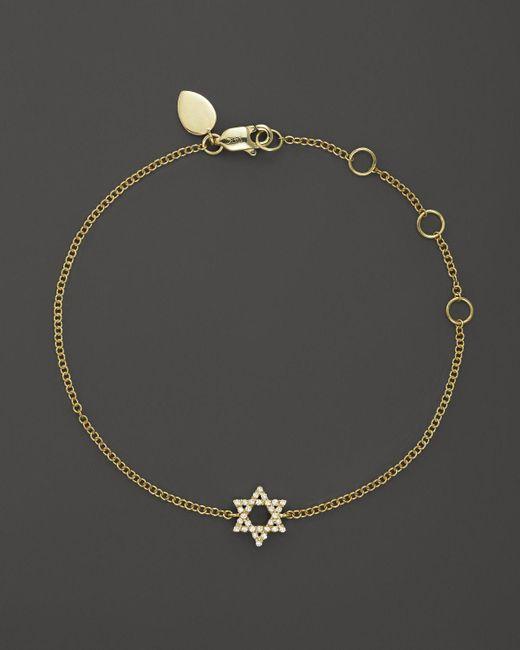 Meira T | 14k Yellow Gold Star Of David Bracelet With Diamonds, .13 Ct. T.w. | Lyst