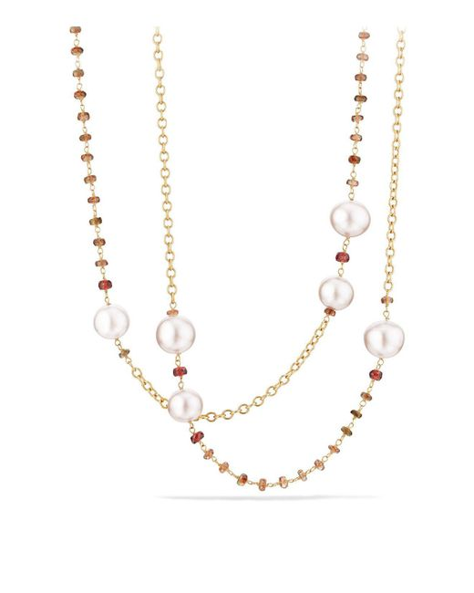 David Yurman - Multicolor Solari Link Necklace In 18k Gold With Cultured Yellow South Sea Pearl And Andalusite - Lyst