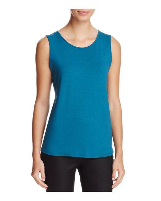 Eileen Fisher | Blue Jewel-neck Tank | Lyst