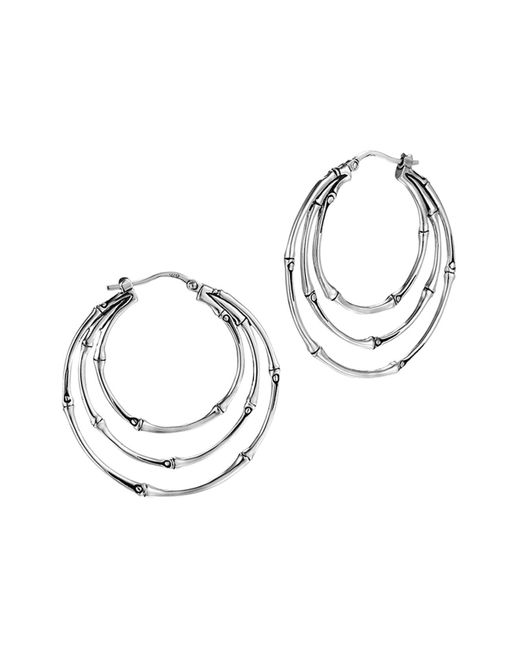 John Hardy | Metallic Bamboo Silver Medium Orbital Hoop Earrings | Lyst