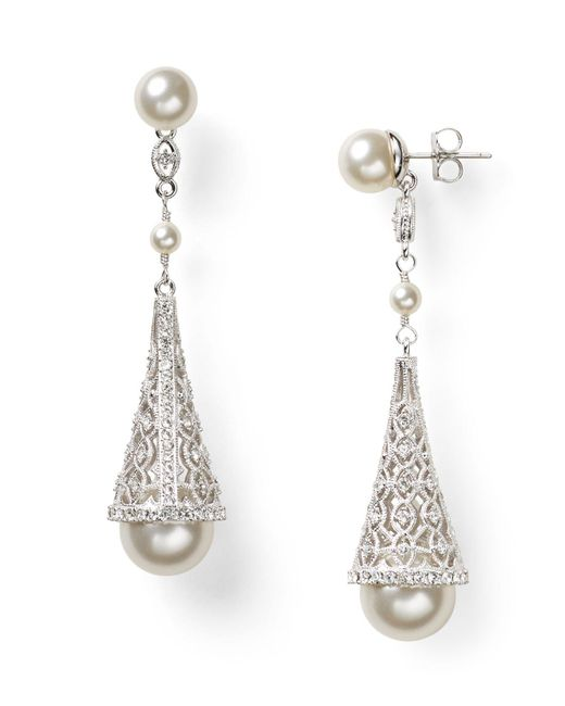 Nadri | White Pavé Cone Drop Earrings | Lyst