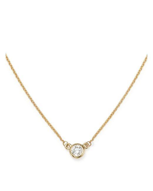 Bloomingdale's - Metallic Diamond Bezel Set Pendant Necklace In 14k Yellow Gold, .15 Ct. T.w. - Lyst