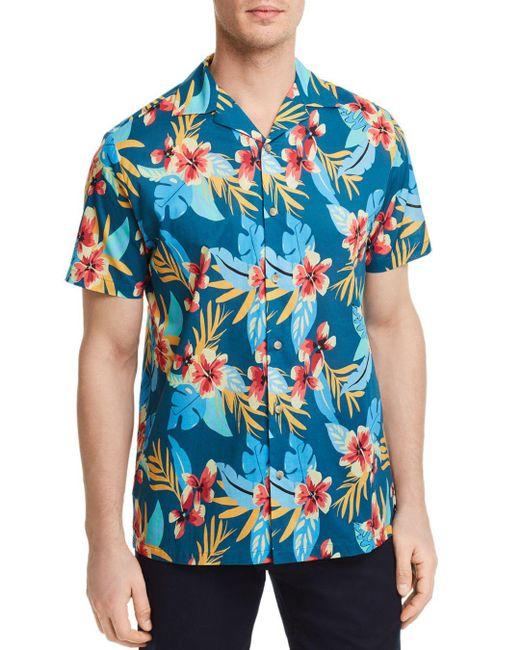 Onia - Blue Fiji Tropical Print Button-down Shirt for Men - Lyst