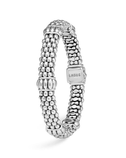Lagos - Metallic Signature Sterling Silver Fluted Station Caviar Bracelet - Lyst