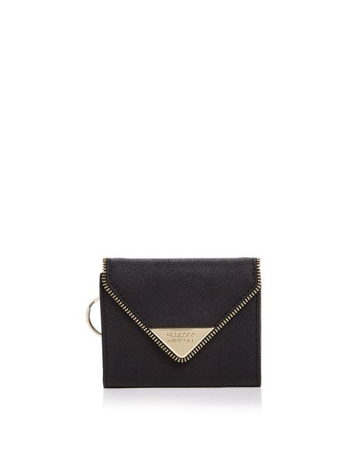 Rebecca Minkoff | Black Molly Metro Saffiano Leather Card Case | Lyst