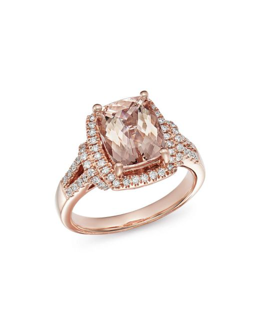 Bloomingdale's - Metallic Morganite & Diamond Ring In 14k Rose Gold - Lyst