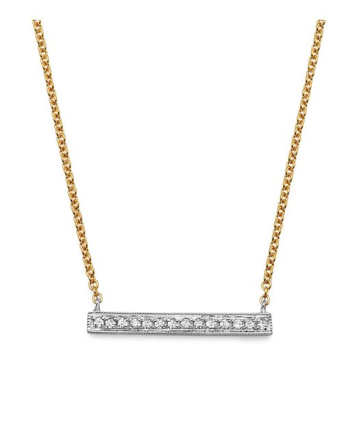 Dana Rebecca | Metallic 14k White & Yellow Gold Sylvie Rose Medium Bar Necklace With Diamonds | Lyst