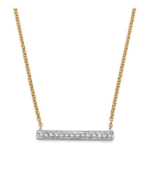 Dana Rebecca   Metallic 14k White & Yellow Gold Sylvie Rose Medium Bar Necklace With Diamonds   Lyst