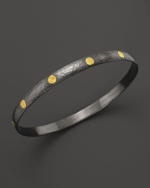 Gurhan | Metallic Sterling Silver And 24k Gold Midnight Bangle | Lyst
